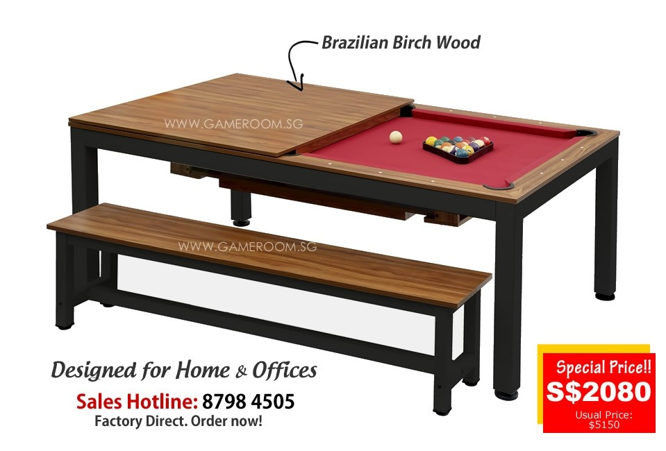 7ft Fushion Dining Pool Table (Black Frame & Red Table Cloth)