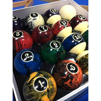 "2.25"" Marble Swirl Numbered Pool Ball Set"