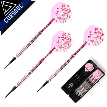 CueSoul 3pcs Soft Tip Dart Set (White Tip/ Pink Flight)