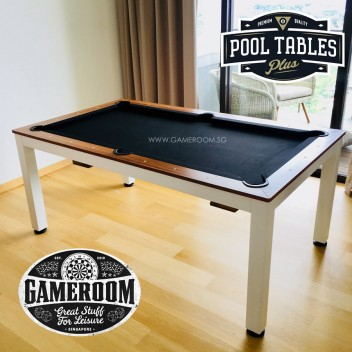 6ft Fusion Dining Pool Table (White Frame & Black Table Cloth)