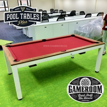 7ft Fushion Dining Pool Table (White Frame & Red Table Cloth)